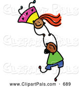 August 12nd, 2013: Pal Clipart of a Childs Sketch of Two Kids Holding Hands While Playing on the Floor by Prawny
