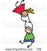 Pal Clipart of a Childs Sketch of Two Kids Holding Hands While Playing Together by Prawny