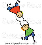 Pal Clipart of a Childs Sketch of Two Smiling Boys Falling and Holding Hands by Prawny