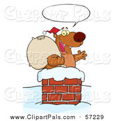 Pal Clipart of a Christmas Santa Bear in a Chimney by Hit Toon