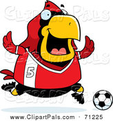 Pal Clipart of a Chubby Red Cardinal Bird Playing Soccer by Cory Thoman