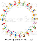 Pal Clipart of a Circle of Caucasian Stick Figure Children by Prawny
