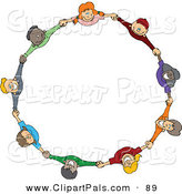 Pal Clipart of a Circle of Diverse Happy Cartoon Children Holding Hands and Looking up on White by Dennis Cox