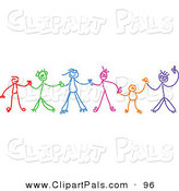 Pal Clipart of a Colorful Chain of Stick Figure Children Holding Hands by Prawny