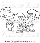 Pal Clipart of a Coloring Page of a Small Girl and Two Boys by Toonaday