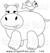 Pal Clipart of a Coloring Page Outline Design of a Bird on a Hippo's Back by Pams Clipart
