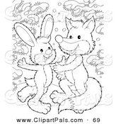 Pal Clipart of a Coloring Page Outline Design of a Rabbit and Fox Dancing in the Snow by Alex Bannykh