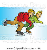Pal Clipart of a Couple of Blond Teenage Boys Ice Skating Together by Snowy