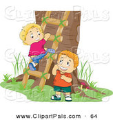 Pal Clipart of a Couple of Boys Climbing a Ladder to a Tree House by BNP Design Studio