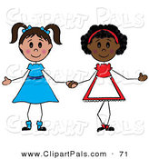 Pal Clipart of a Couple of Diverse Girls Holding Hands by Pams Clipart