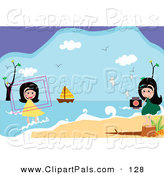 Pal Clipart of a Couple of Girls Taking Pictures at the Beach by Mayawizard101