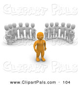 Pal Clipart of a Couple of Groups of 3d Blanco Men Watching an Anaranjado Man by Jiri Moucka
