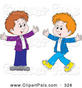 Pal Clipart of a Couple of Happy Boys Walking Toward Each Other with Their Arms Open by Alex Bannykh