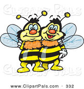 Pal Clipart of a Couple of Happy Hugging Bees by Dennis Holmes Designs