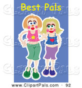 Pal Clipart of a Couple of Happy Young Ladies Smiling over Blue by Prawny