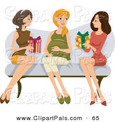 Pal Clipart of a Couple of Ladies Sitting on a Couch with Their Pregnant Friend, Giving Her Presents at Her Baby Shower by BNP Design Studio