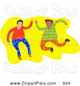 Pal Clipart of a Couple of Male Friends over Yellow by Prawny