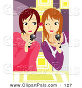 Pal Clipart of a Couple of Teen Girls Singing Karaoke by Mayawizard101