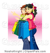 Pal Clipart of a Couple of Young Teenage Caucasian Girls Carrying Bags and Shopping by NoahsKnight