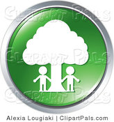Pal Clipart of a Couple People Outside Under a Tree on a Green Website Button by Alexia Lougiaki