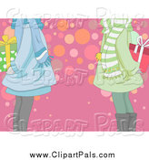 Pal Clipart of a Cropped View of Girls Holding Christmas Exchange Gifts by BNP Design Studio