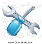Pal Clipart of a Crossed Blue Handled Screwdriver and Wrench by AtStockIllustration