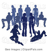 Pal Clipart of a Crowd of Blue Silhouetted People on White by AtStockIllustration