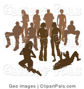 Pal Clipart of a Crowd of Brown Silhouetted People - Standing, Sitting, and Kneeling by AtStockIllustration