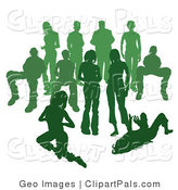 Pal Clipart of a Crowd of Green Silhouetted People Standing Together by AtStockIllustration