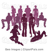 Pal Clipart of a Crowd of Purple Silhouetted People Standing Together by AtStockIllustration