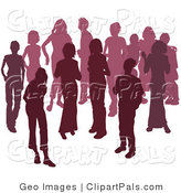 Pal Clipart of a Crowd of Silhouetted Purple People Mingling by AtStockIllustration