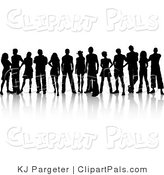 Pal Clipart of a Crowd of Silhouetted Young Adults Standing Together by KJ Pargeter