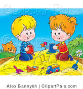 Pal Clipart of a Curious Orange Cat Watching a Boy and Girl Making Sand Castles with Buckets in a Sand Box by Alex Bannykh