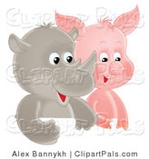 Pal Clipart of a Cute Baby Rhino and Pig Side by Side by Alex Bannykh