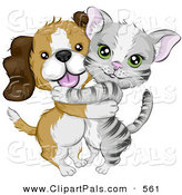 Pal Clipart of a Cute Beagle Puppy Hugging a Little Gray Kitten by BNP Design Studio