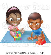 September 15th, 2013: Pal Clipart of a Cute Black Boy and Girl Playing with Toys on a Floor Together by AtStockIllustration
