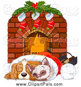 Pal Clipart of a Cute Christmas Cocker Spaniel and Siamese Kitten Cuddling in a Santa Hat by a Fireplace by Pushkin