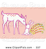Pal Clipart of a Cute Deer Sniffing a Rabbit by Cherie Reve