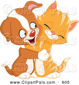 Pal Clipart of a Cute Ginger Kitten and Puppy Dog Cuddling and Smiling by Yayayoyo
