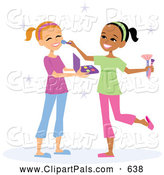 Pal Clipart of a Cute Girl Applying Makeup on Her Friend by Monica