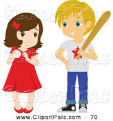 Pal Clipart of a Cute Little Girl and Boy Playing Baseball on White by Rosie Piter
