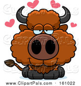 Pal Clipart of a Cute Loving Buffalo Calf with Love Hearts by Cory Thoman