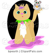 Pal Clipart of a Cute Mouse on a Tan Cat's Tail, over a Black, Pink and White Background by Bpearth