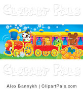Pal Clipart of a Cute Spotted Puppy Driving a Red and Yellow Train with a Bluebird, Hedgehog and Bear Riding, a Butterfly and Sea Turtle Watching It Pass by Alex Bannykh