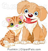 Pal Clipart of a Cute Striped Kitten and Happy Puppy by Pushkin