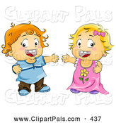 Pal Clipart of a Cute Toddler Boy and Girl with Open Arms by BNP Design Studio