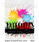Pal Clipart of a Dancing Black Silhouetted People over a Text Bar with Halftone and Colorful Splatters over White by KJ Pargeter