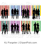 Pal Clipart of a Digial Collage of People Silhouetted in Black Against Striped Backgrounds by KJ Pargeter