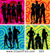 Pal Clipart of a Digital Collage of Groups of Silhouetted People over Colorful Wavy Backgrounds by KJ Pargeter