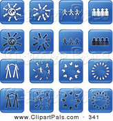 Pal Clipart of a Digital Collage of Sixteen Square Blue, Black and White Teamwork Icons by Prawny